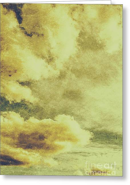 Yellow Toned Textured Grungy Cloudscape Greeting Card