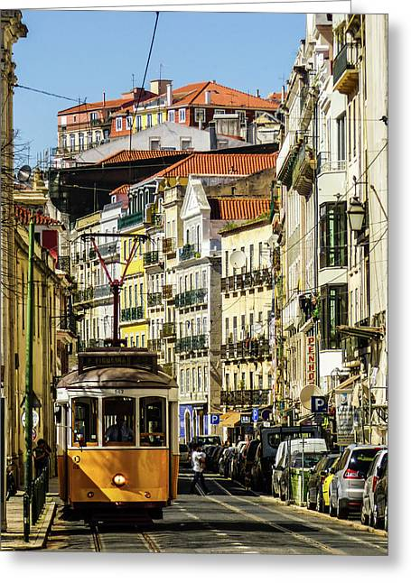 Yellow Tram In Downtown Lisbon, Portugal Greeting Card