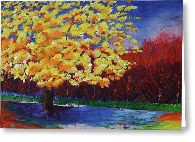 Greeting Card featuring the painting Yellow Tree by Karin Eisermann