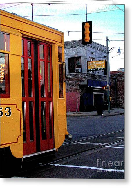 Yellow Trolley At Earnestine And Hazels Greeting Card