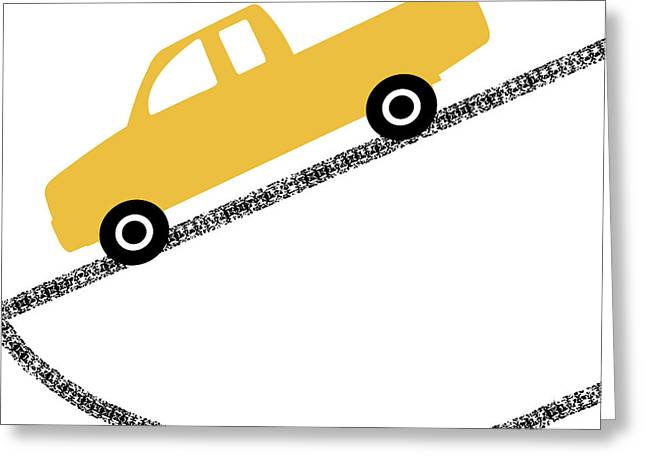 Yellow Truck On Road- Art By Linda Woods Greeting Card