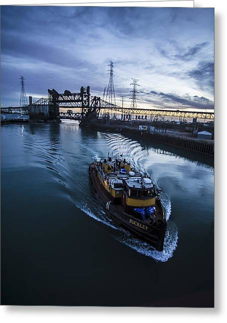Yellow Tug Boat Approaching  Greeting Card