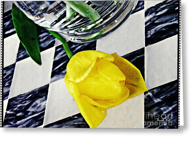 Yellow Tulip On The Checker Board Greeting Card by Sarah Loft