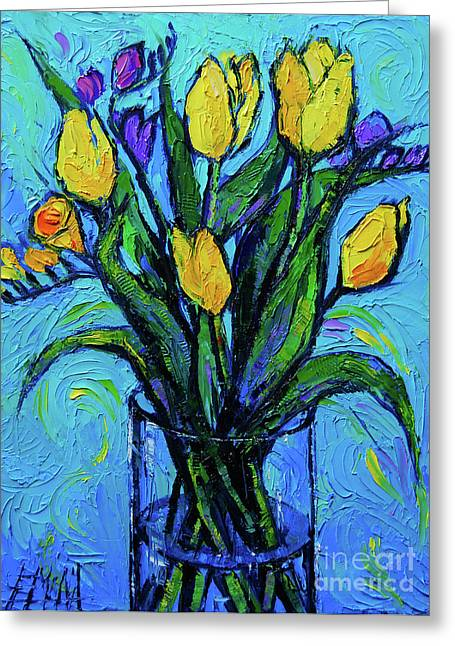 Yellow Tulips And Freesia Greeting Card by Mona Edulesco