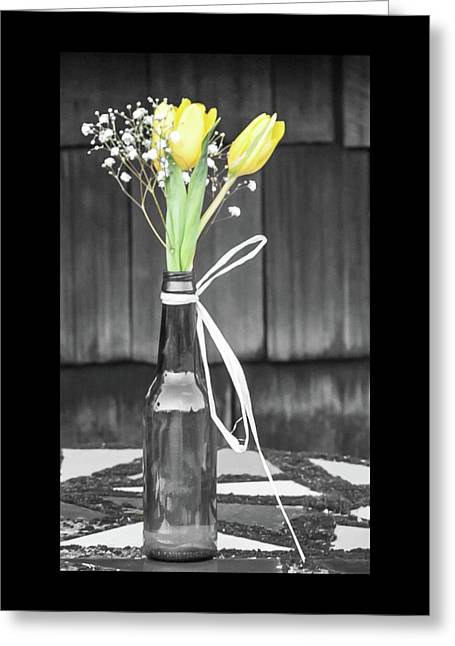 Greeting Card featuring the photograph Yellow Tulips In Glass Bottle by Terry DeLuco