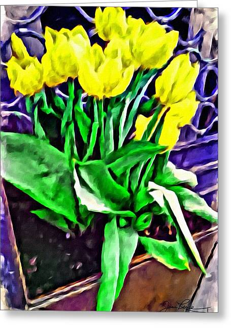 Greeting Card featuring the painting Yellow Tulips by Joan Reese
