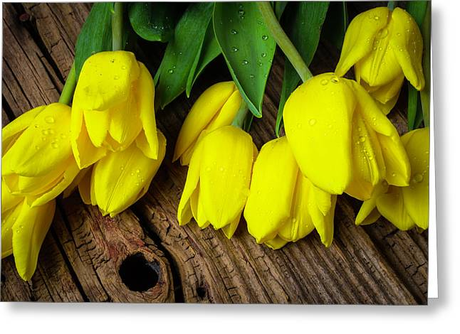 Yellow Tulips On Old Boards Greeting Card by Garry Gay