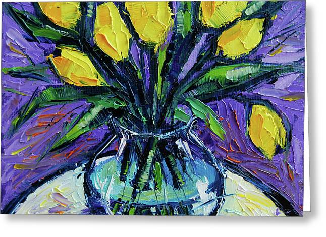 Yellow Tulips On White Table - Impasto Etude Greeting Card by Mona Edulesco