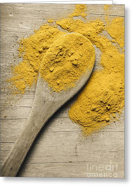 Yellow Turmeric Spice On Wooden Serving Spoon Greeting Card