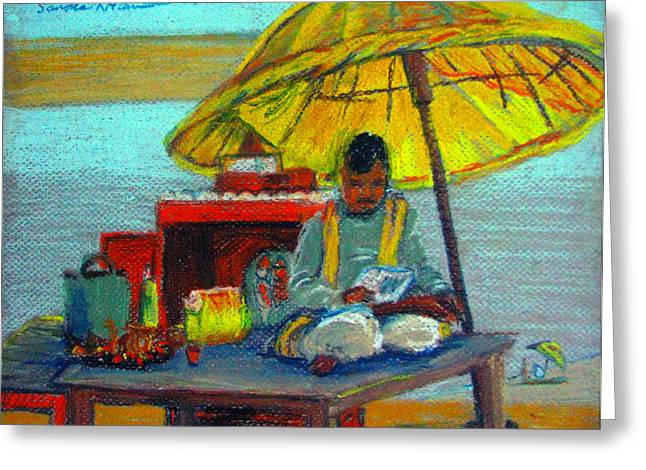 Yellow Umbrella Greeting Card by Art Nomad Sandra  Hansen