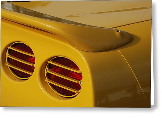 Yellow Vette Lights Greeting Card by Rob Hans