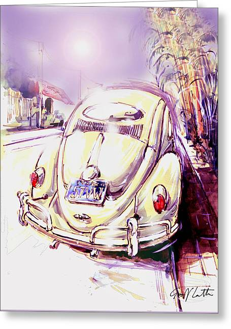 Vw Beetle On The Street Greeting Card by Geoff Latter
