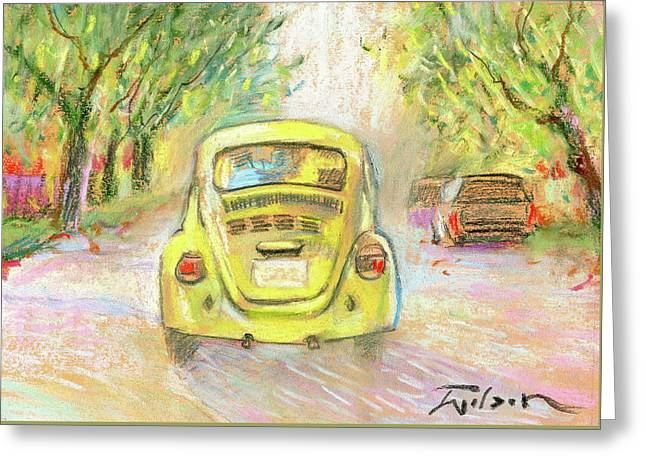 Yellow Vw Greeting Card by Ron Wilson