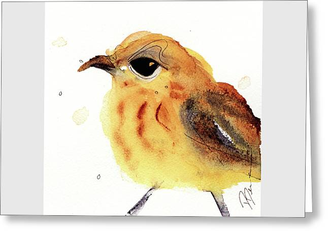 Greeting Card featuring the painting Yellow Warbler by Dawn Derman