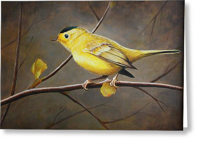 Yellow Warbler Greeting Card by Pam Kaur