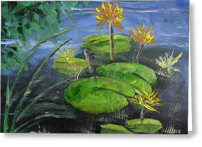 Yellow Water Lilies Greeting Card by Barbara Harper