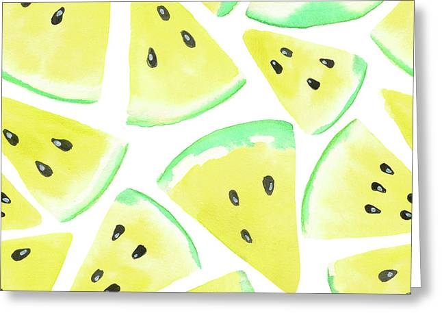 Yellow Watermelon Slices Pattern Greeting Card