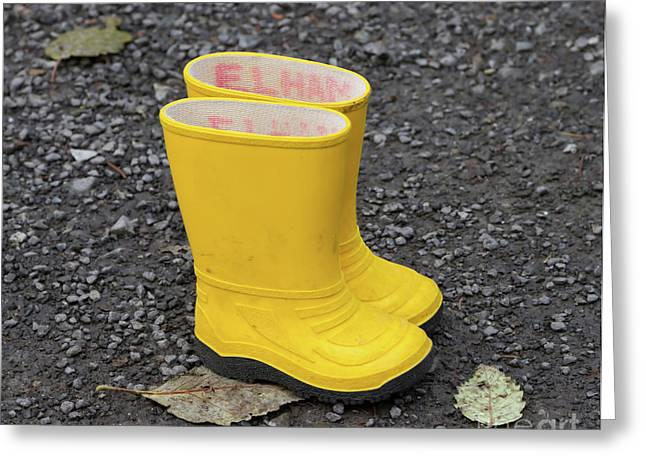 Yellow Wellies Greeting Card by Louise Heusinkveld