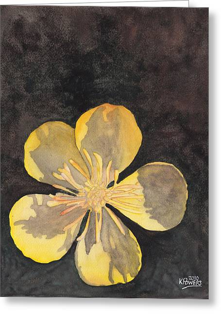 Yellow Wild Flower Greeting Card by Ken Powers