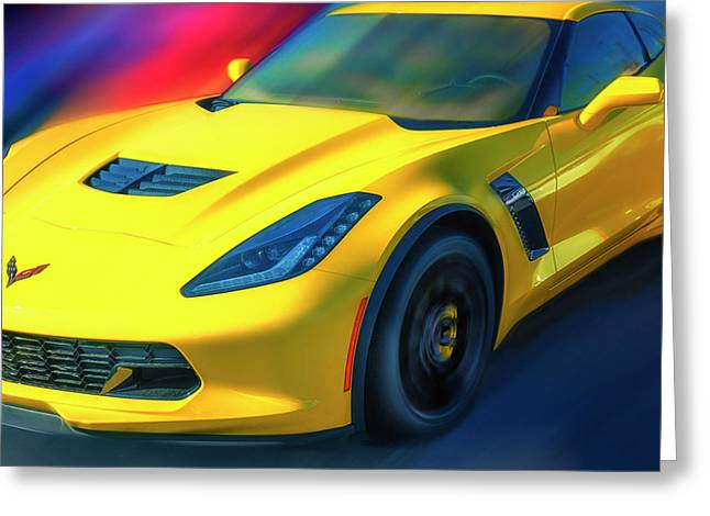 Yellow Z06 Supercharged Greeting Card by Larry Helms