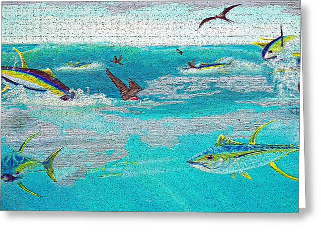 Yellowfinfrenzy On Wood Greeting Card by Ken Figurski