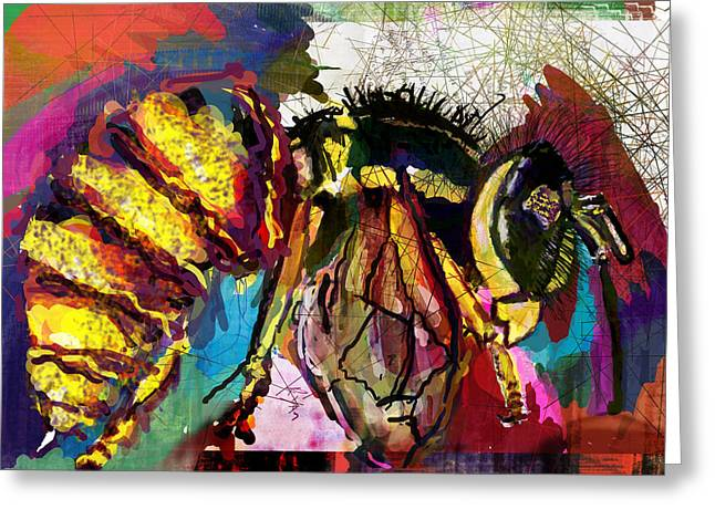 Stinger Greeting Cards - YellowJacket in Trance Greeting Card by James Thomas