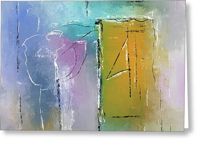 Greeting Card featuring the mixed media Yellows And Blues by Eduardo Tavares