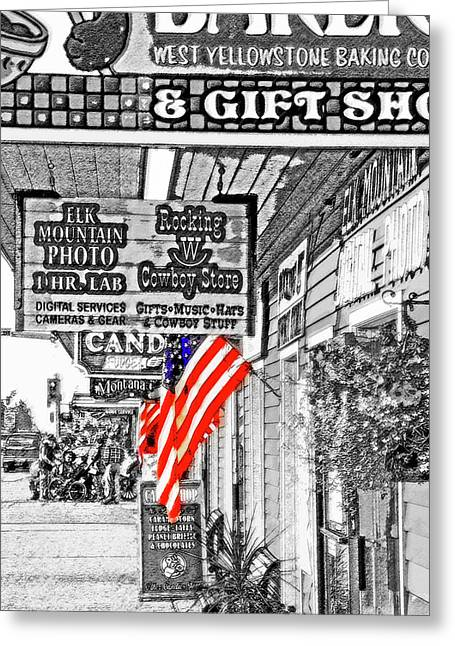 Yellowstone - Small Town Usa  Greeting Card by Steve Ohlsen