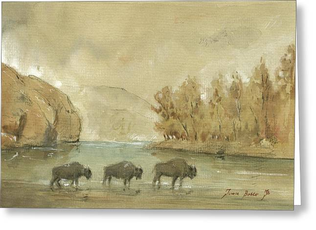 Yellowstone And Bisons Greeting Card