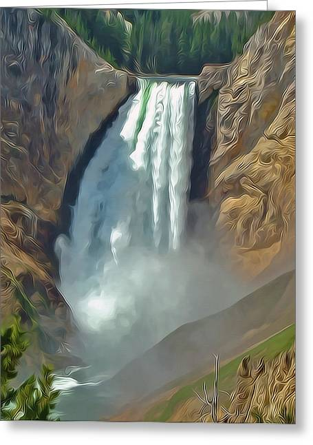 Yellowstone Falls A Stylized Landscape By Frank Lee Hawkins Greeting Card