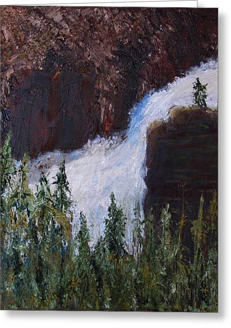 Yellowstone Falls Greeting Card by Libby  Cagle