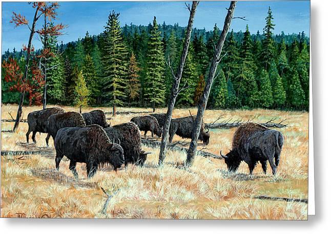 Yellowstone Grazers Greeting Card