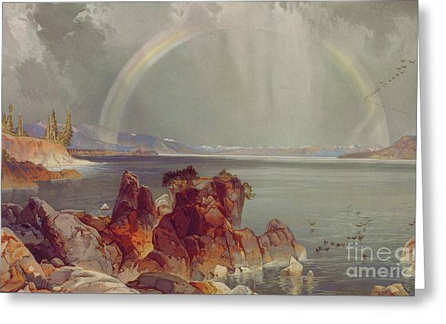 Yellowstone Lake Greeting Card by Louis Prang