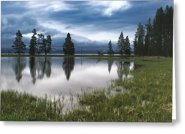 Yellowstone Lake Reflection Greeting Card