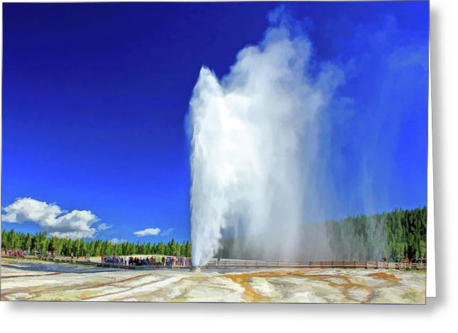 Greeting Card featuring the painting Yellowstone National Park Beehive Geyser by Christopher Arndt