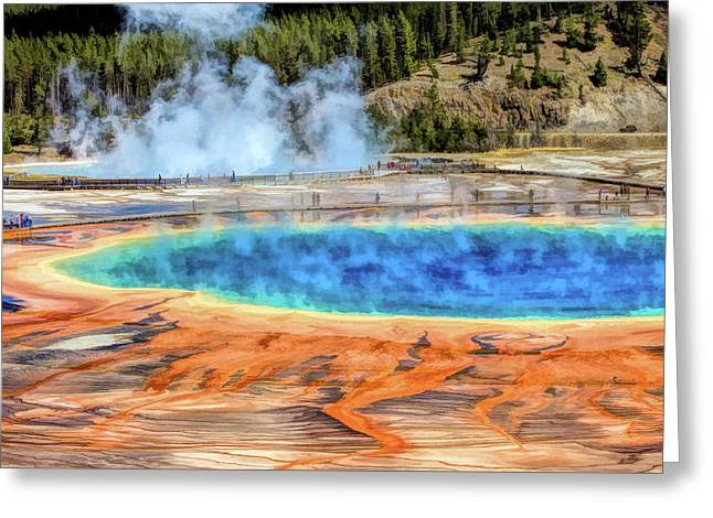 Greeting Card featuring the painting Yellowstone National Park Grand Prismatic Spring by Christopher Arndt