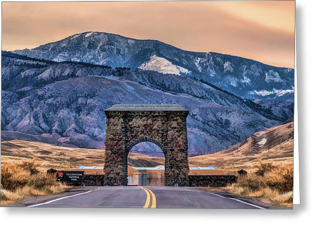 Greeting Card featuring the painting Yellowstone National Park North Entrance by Christopher Arndt