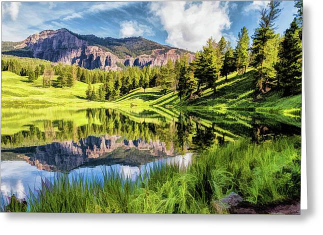 Greeting Card featuring the painting Yellowstone National Park Trout Lake by Christopher Arndt