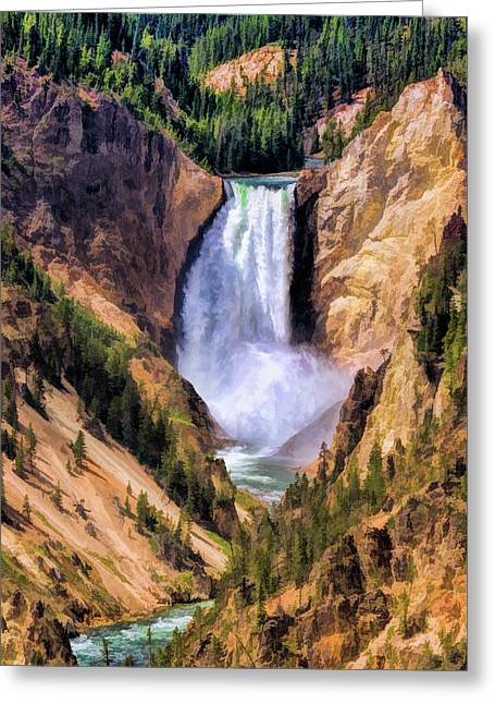 Greeting Card featuring the painting Yellowstone National Park Upper Falls by Christopher Arndt