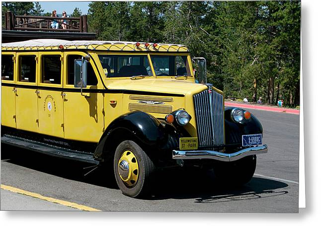 Yellowstone Park Old Faithful Inn Tour Bus 01 Greeting Card by Thomas Woolworth