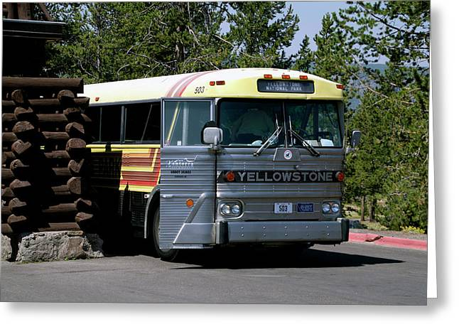 Yellowstone Park Old Faithful Inn Tour Bus 02 Greeting Card by Thomas Woolworth