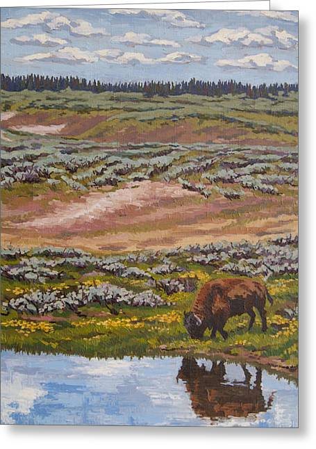 Greeting Card featuring the painting Yellowstone Reflections by Erin Fickert-Rowland