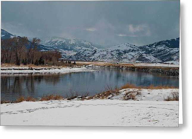 Yellowstone River In Light Snow Greeting Card