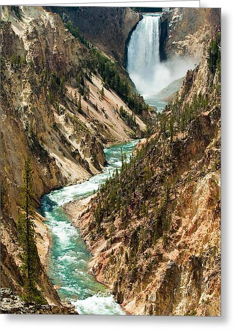 Yellowstone Waterfalls Greeting Card by Sebastian Musial