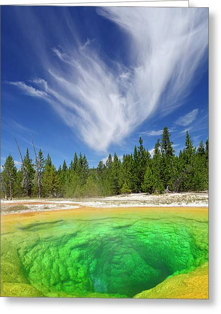 Greeting Card featuring the photograph Yellowstone's Morning Glory Pool Pool And Awesome Clouds by Bruce Gourley