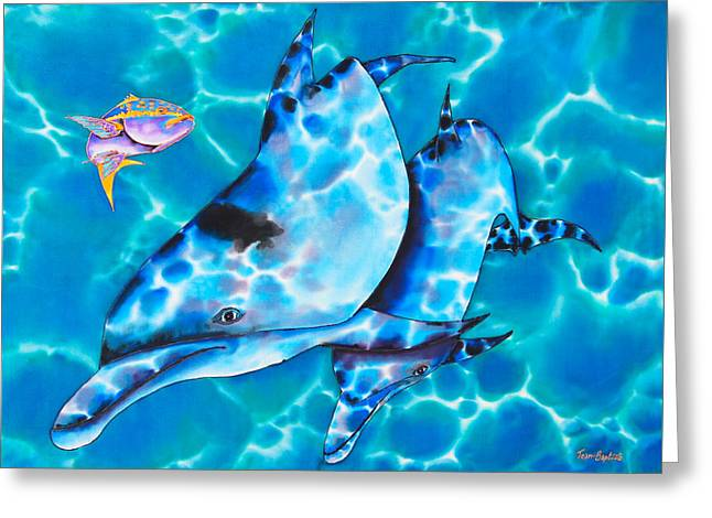 Yellowtail Snapper And  Dolphins Greeting Card by Daniel Jean-Baptiste