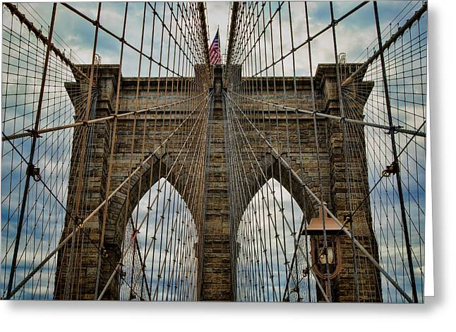 Yesterday Today  And Tomorrow - Brooklyn Bridge Greeting Card by Stephen Stookey