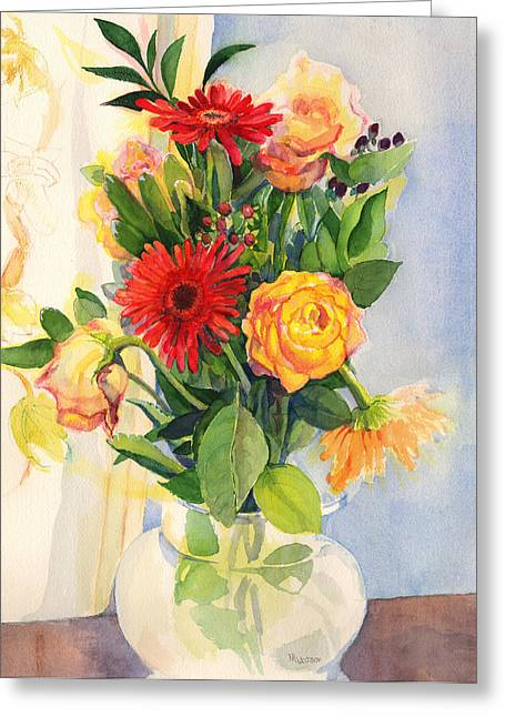 Greeting Card featuring the painting Yesterdays Beauties by Nancy Watson