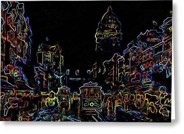 Yesteryear Goes Neon Greeting Card by Ron Fleishman