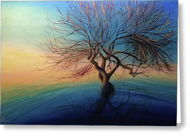 Yggdrasil / Original Oil Painting Canvas On Hardboard. Greeting Card by Svetoyara Rysenko